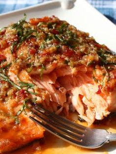 Grilled Salmon with herbs and spices.