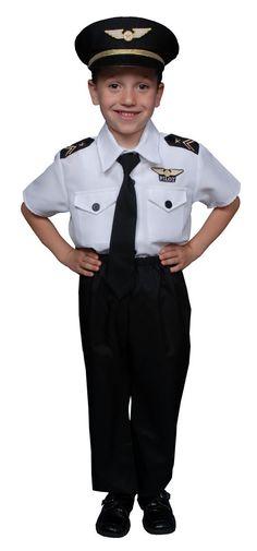 Pilot Boy Airline Pilot Costume for Kids HalloweenCostumes4u.com $30.00