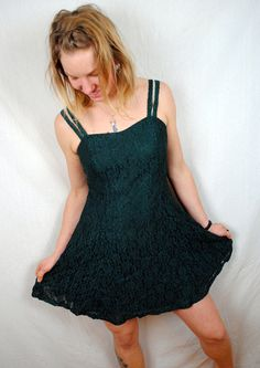 Vintage 80s Lace All that Jazz Sheer Dress in green