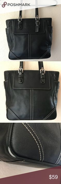 Coach Medium Size Handbag Coach Shoulder Purse in Black Leather. It has small scuff mark on the bottom corner. ( Price reflects scuff please see picture) Not noticeable since it is at the bottom of the purse. Interior has two compartments and zipper pocket. Black lining inside in Great Shape. Adjustable buckle length. Two outer side pockets as well. Offers Always Welcome😀Thank You for shopping my closet. Coach Bags Shoulder Bags