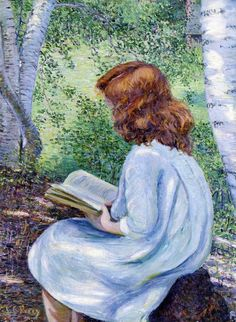 Child With Red Hair Reading. Lilla Cabot Perry (American, Oil on canvas. Although she had no formal art training until age Perry became a professional painter and a devotee of French Impressionism with a formidable body of work. Reading Art, Woman Reading, Reading Books, Illustration Photo, Illustrations, People Reading, Children Reading, Pintura Exterior, Developmental Disabilities