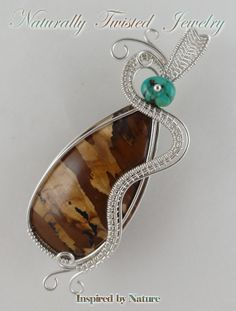 Argentium Sterling Silver Biggs Jasper Wire Wrapped  Weave Pendant with Turquoise Bead Jewelry