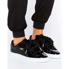 Puma Basket Heart Trainers In Patent Black (€89) ❤ liked on Polyvore featuring shoes, sneakers, black, black patent leather shoes, black sports shoes, lace up sneakers, black sneakers and sports shoes