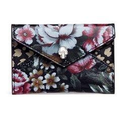 Alexander McQueen Skull floral print leather envelope card holder ($215) ❤ liked on Polyvore featuring bags, wallets, leather bags, studded wallet, studded leather wallet, floral wallet and alexander mcqueen