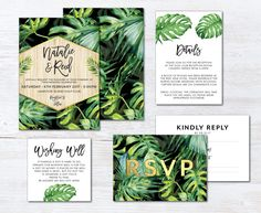 A gorgeous tropical wedding suite featuring a palm print design against a black or white background. Perfect for a summer, beach or island wedding. Beautiful Wedding Invitations, Watercolor Wedding Invitations, Printable Wedding Invitations, Diy Invitations, Wedding Invitation Suite, Invitation Cards, Debut Invitation, Wedding Stationary, Wedding Wishes