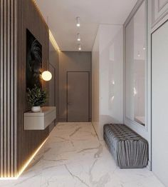 Find here organic materials and unique furniture ideas to inspire your next interior decor project. Foyer Design, Hallway Designs, Entrance Design, House Entrance, House Design, Home Hall Design, Room Interior, Interior Design Living Room, Modern Interior