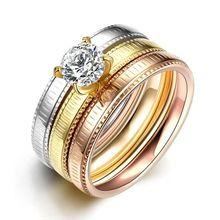 SJTGR034 Criativo Borda Dente de Aço de Titânio Ouro Rosa e Ouro Branco e Ouro… …
