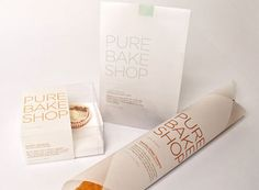 Texture of the packaging materials - here - almost transparent - create purity/nature feel  Pure Bake Shop Package Design