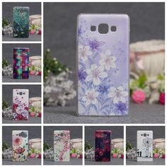 Flower Painting Soft TPU Capa Case For Samsung Galaxy A7 A700 A700F A700H SM-A700F A7000 Case 2015 Cartoon Fundas Phone Cases
