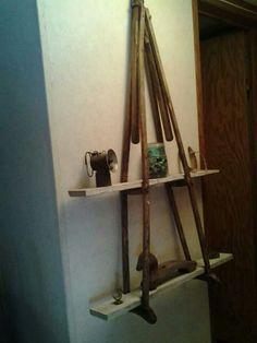 Wooden crutches shelf