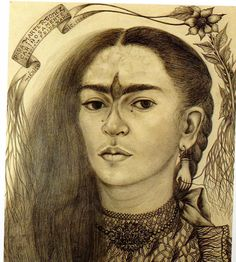 Frida Kahlo Self Portrait Dedicate to Marte R Gomez 1947 Pencil on Paper
