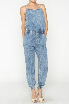 Fade Denim Jumpsuit  #wholesale #clothing #fashion #love #ootd #wiwt #shorts #skirts #dresses #tanks #romper #jumpsuit #summer
