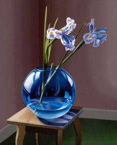 blue vase, blue irises