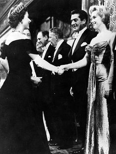Queen Elizabeth II shaking hands with Marilyn Monroe - who stands next to Victor Mature - at a Royal Film Performance of 'The Battle of the River Plate' at the Empire Theatre, Leicester Square, London. the queen is apparently still a fan of marilyn Royal Films, Howard Hughes, Helen Mirren, Norma Jeane, Ellie Goulding, Kate Winslet, Spice Girls, Queen Elizabeth Ii, Catherine Deneuve