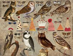 Etsy の 8 Vintage Wise OWL Paper DOLLS INSTANT by ARTchixStudio