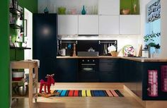 All over the black kitchen with wooden tops