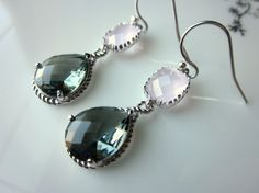 Charcoal and Pink Opal in Silver #weddings #bridesmaid #earrings #pink #gray #charcoal #jewelry
