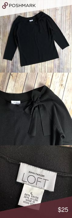 "Ann Taylor Loft Pussy Bow Tie Neck 3/4 Sleeve Knit Ann Taylor Loft Pussy Bow Tie Neck 3/4 Sleeves Knit Large Black Stretch Blouse EUC Armpit to armpit:22"" Length:24"" Sleeve length:22"" Please see all pics for details!! Thank you LOFT Sweaters Crew & Scoop Necks"