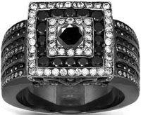 14K Gold Black Rhodium Plated Mens Diamond Ring with Black Diamonds 5.75 Ctw