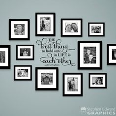 The Best Thing to hold onto in Life is each other Decal - Audrey Hepburn Quote - Gallery Wall Decor - home deco - Pictures on Wall ideas Family Wall Decor, Living Room Decor, Family Room Decorating, Family Wall Collage, Family Clock, Family Wall Quotes, Family Photo Collages, Word Collage, Hallway Wall Decor