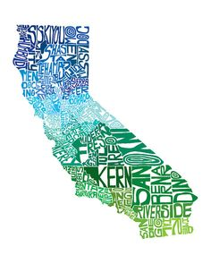 California Cool - typography map art print - customizable 8x10 - free shipping via Etsy