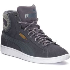 PUMA Vikky Mid Twill Women's Sneakers (71 CAD) ❤ liked on Polyvore featuring shoes, sneakers, grey other, grip trainer, puma trainers, perforated shoes, laced sneakers and round toe sneakers