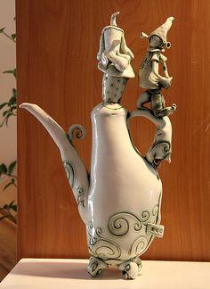 Fleur Schell - Teapot , 'Heidi and Kilbey Dog Playing Ball'