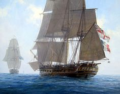 Geoff Hunt. French Ship L'UNITE (Later HMS SURPRISE) About to Engage HMS INCONSTANT in the Mediterranean, April 20, 1796. J. Russell Jinishian Gallery, Inc.