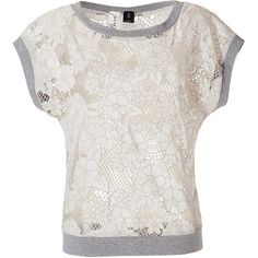 Bird by Juicy Couture Wheat/Grey Floral Cut-Out Crochet Top (2,025 MXN) ❤ liked on Polyvore featuring tops, beige, embellished tops, gray top, flower print tops, flower top and summer tops