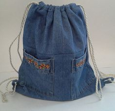 Upcycled Denim Shirt Lined Drawstring Backpack with by debupcycles