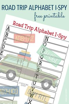Free Alphabet Road Trip I Spy Printable! Who will spot all the letters and fill up their game board first? A classic and fun road trip game for kids - perfect for summer vacation or every day trips!