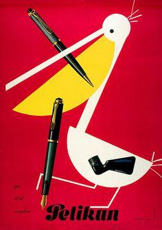 Herbert Leupin - Pelikan Fountain Pens vintage ad, 1952  #pelican