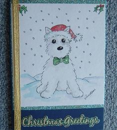 hand painted westie dog Christmas card (ref 713) £1.00