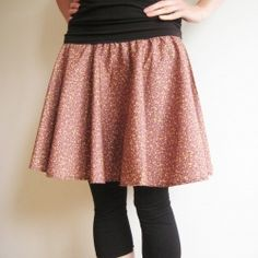 Make your own simple circle skirt. Chary, this is kind of perfect...make your own pattern, check out the polka dot with the yellow waist.  The elastic could be hidden with a matching sash.