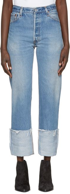 RE/DONE Blue High-Rise Straight Cuffed Jeans. #re/done #cloth #jeans