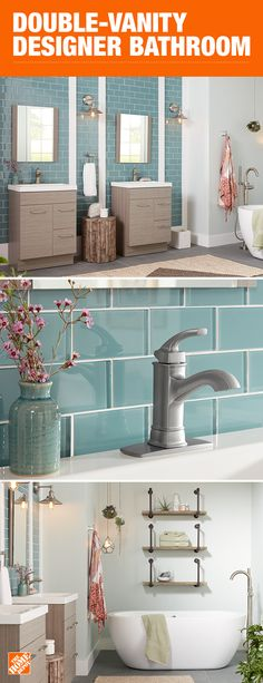 Double the vanities and double the space means double the style. This spa-like bathroom utilizes a calming color palette, understated fixtures and two modern vanities to create a bathroom that's more like a retreat. Click to shop the Jayli collection and other styles at The Home Depot.