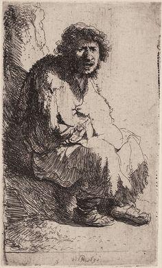 Rembrandt – Gueux assis sur une motte de terre (autoportrait), 1630, Eau-forte, 116x70 mm