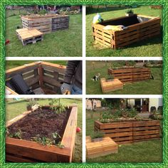Raised garden bed made of pallets