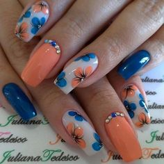 10 Amazing Spring Nail Art Designs That You Should Try Asap Astonishing spring nail art with blue and orange flowers Spring Nail Art, Spring Nails, Summer Nails, Cute Nails, Pretty Nails, Nail Art Designs, Gel Nails, Manicure, Toenails