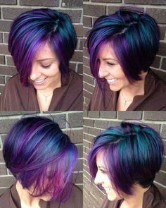 Cool Galaxy Hair Coloration for Brief Hair - Hair Color Short Purple Hair, Short Hair Cuts, Short Hair Styles, Short Hair Colour, Short Colorful Hair, Colored Short Hair, Coloured Hair, Blue Hair, Perfect Hair Color