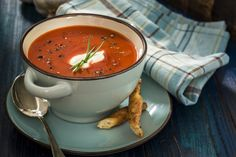 Tomato soup is a classic comfort food, especially when paired with a gooey grilled cheese. While there's a lot to love about tomato soup — it's high in lycopene and vitamins A and C — it can also be … Mexican Tortilla Soup, Healthy Fats, Healthy Eating, Tomato Soup Recipes, Pasta Soup, Turkey Soup, Vegan Soup, Soups And Stews, Fast Recipes