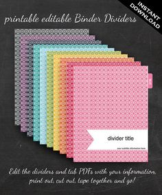 Binder cover printable editable french country vintage rose theme binder dividers printable binder dividers editable rainbow mod square mod binder divider templates custom binder tabs printable divider flashek Images