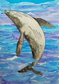 Humpback Whale Collage: Rip up 2 shades of blue paper to create the sea. Separately draw and paint/colour a hump back whale. Stick whale onto sea background. Whale Pictures, 6th Grade Art, Wale, Ocean Art, Ocean Life, Art Lessons Elementary, Arts Ed, Fish Art, Collage