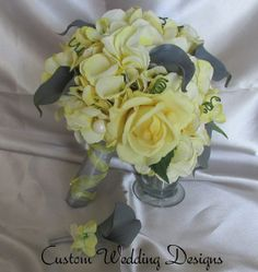 Wedding Bouquet Gray Real Touch Calla Lily by Customweddingdesigns, $140.00
