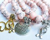 Breast cancer awareness bracelet, cancer support, never never give up, pink bracelet, butterfly charm, ribbon charm, Avon 39
