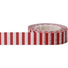 Little B - Decorative Paper Tape - Red Side Stripes - 15mm at Scrapbook.com