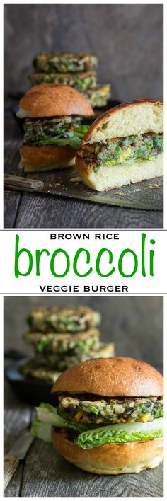 Broccoli, brown rice, mushrooms, corn and onion all go together to make this awesome veggie burger!   Foodness Gracious