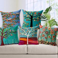 Set of 5 Beautiful Flower Tree Cotton/Linen Decorative Pillow Cover – AUD $ 66.64