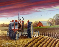 The Quiet Time ~ Artist John Sloane Vintage Tractors, Old Tractors, Arte Country, Country Life, Country Living, Farm Paintings, Farm Pictures, Henri Rousseau, Illustration Art