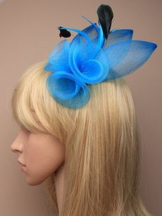 Blue Fascinator with mesh flower and feather by ClarasBoutiqueUSA, $19.00